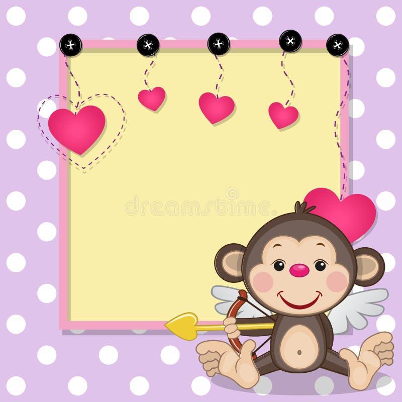 Amorek małpa z ramą ilustracji