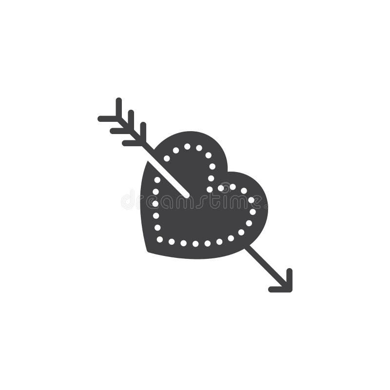 Amorek strzała w kierowym ikona wektorze, wypełniający mieszkanie znak, stały piktogram odizolowywający na bielu ilustracja wektor