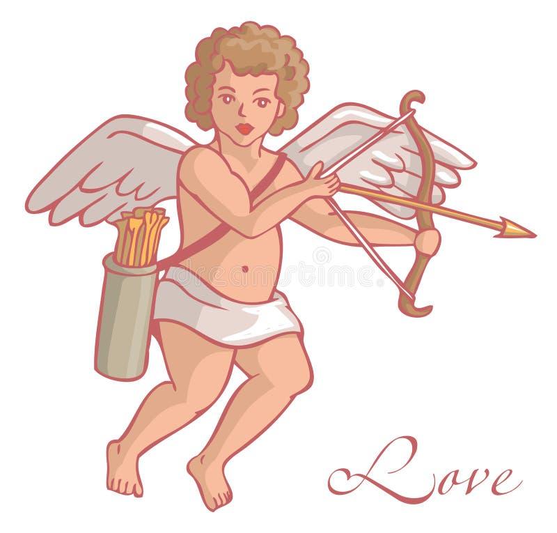 Amorek z kołczanem i strzała ilustracji
