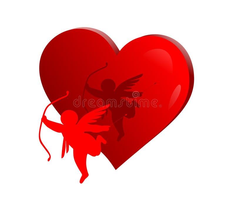 Amorek z sercem royalty ilustracja