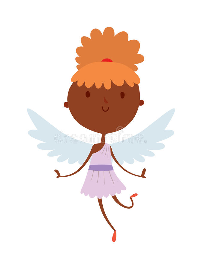 Amorengelslächelnmädchenkindervektorschattenbild der Karikatur nettes lizenzfreie abbildung