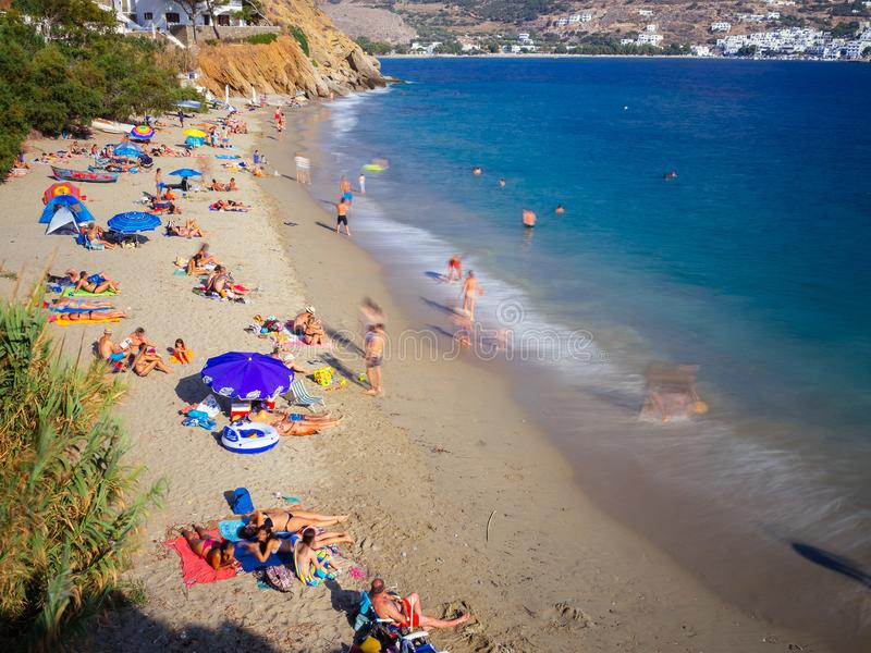 Amorgos, Greece-August 2,2017.A higher view of the beautiful beach of Psili Ammos, with crystal clear filled with tourists stock photo