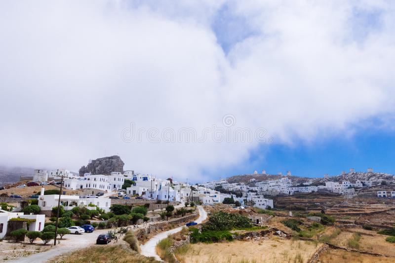Amorgos, Greece-August 2,2017.A panoramic view of the Chora of A royalty free stock image