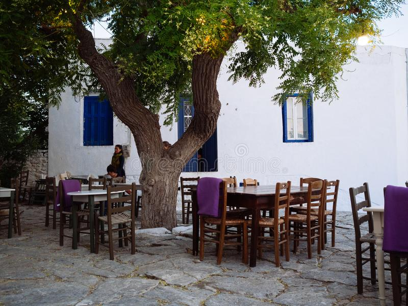 Amorgos ,Greece-August 1,2017.In the small squares of the island royalty free stock photos