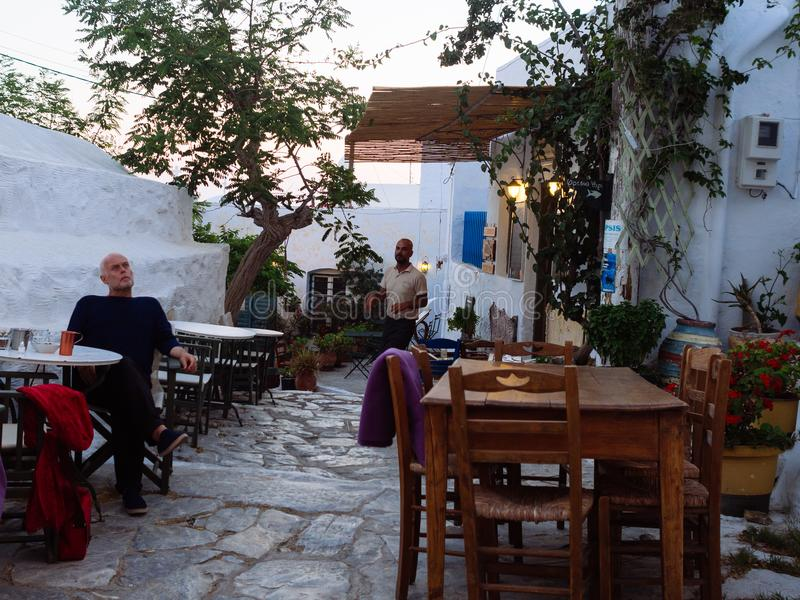Amorgos ,Greece-August 1,2017.In the small squares of the island royalty free stock images