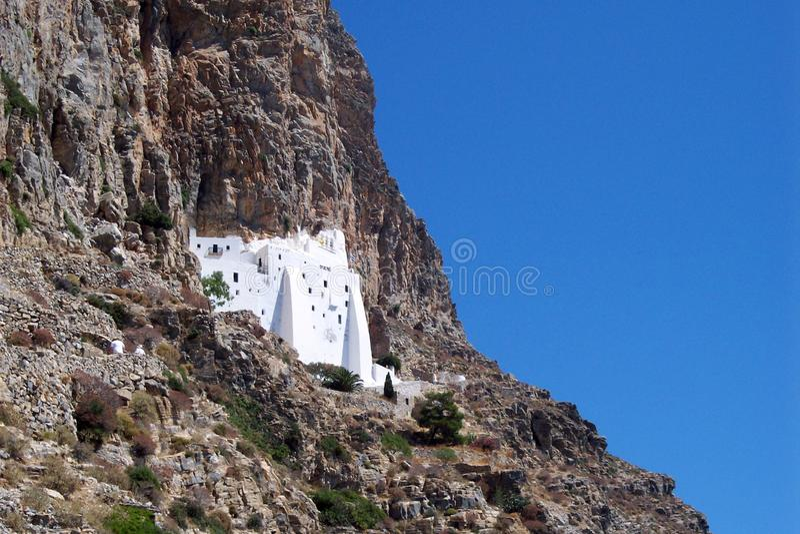 Amorgos island, Greece – July 7, 2008: The monastery of Panagia Hozoviotissa royalty free stock photography