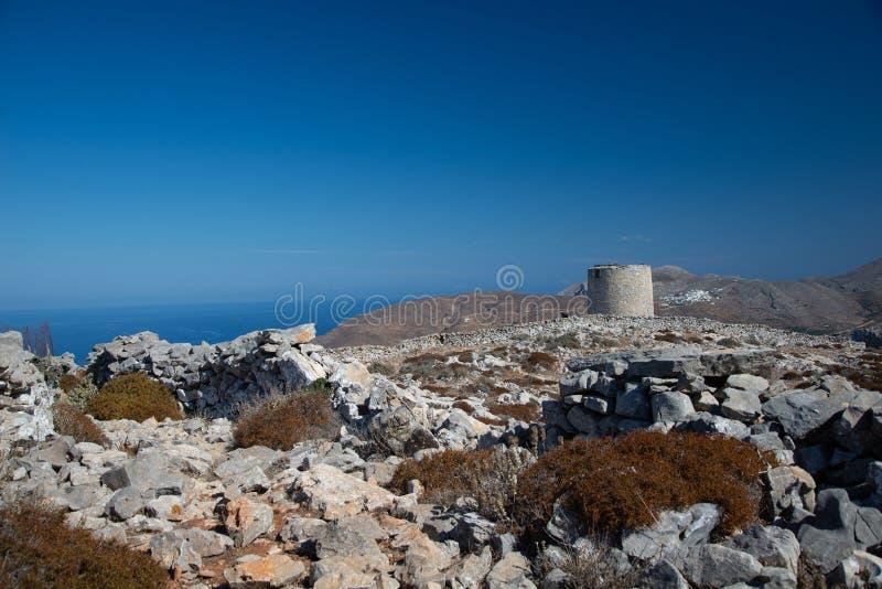 Amorgos island, old village of Chora windmills, Greece royalty free stock photos