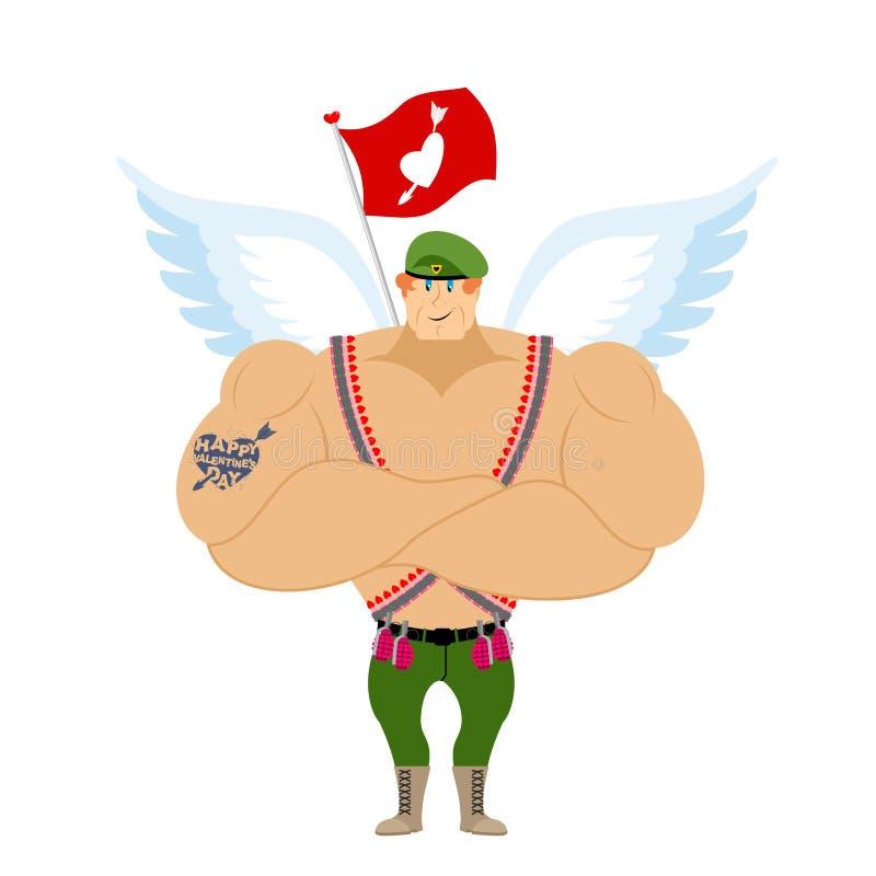 Amorków kawalerzyści Oskrzydlony lądowanie Militarny anioł ilustracja wektor