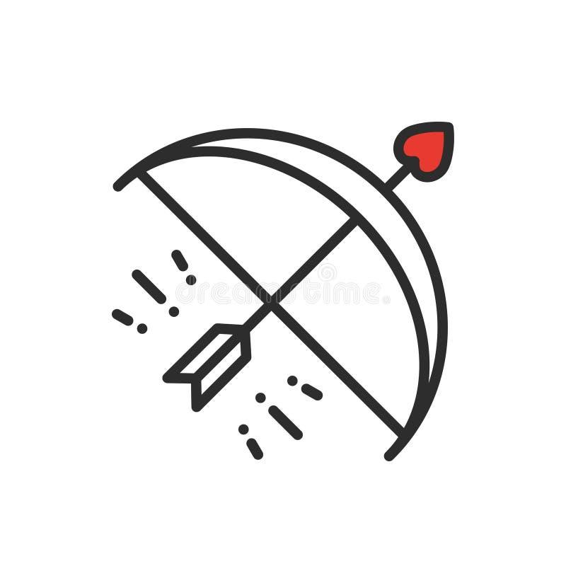Amorka łęku strzała linii ikona Szczęśliwy walentynki znak, symbol i Miłość, para, związek, datowanie, ślub, wakacje royalty ilustracja
