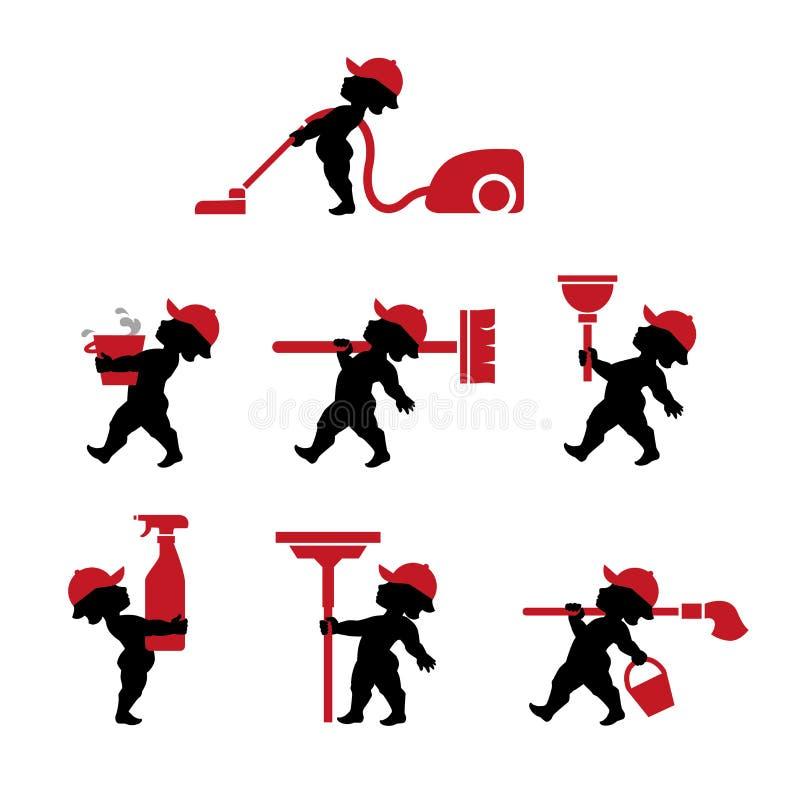 Amorka cleaning personel z narzędziami w płaskim projekcie ilustracja wektor