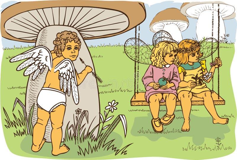 Amorka dopatrywania czarodziejki ilustracji