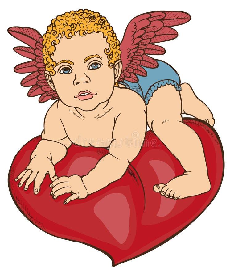 Amorka dziecka kierowy kolor ilustracja wektor