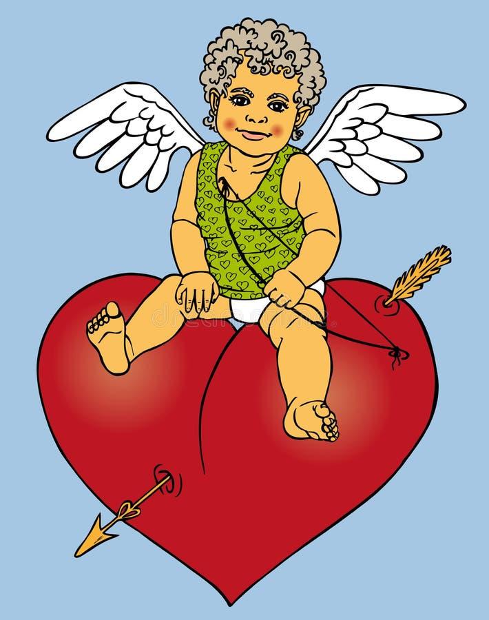 Amorka obsiadanie na czerwonym sercu royalty ilustracja