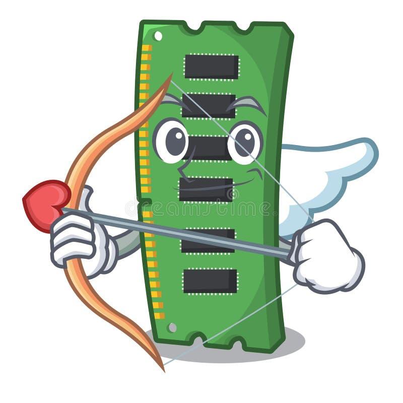 Amorka RAM karta pamięci odizolowywająca w kreskówce ilustracja wektor