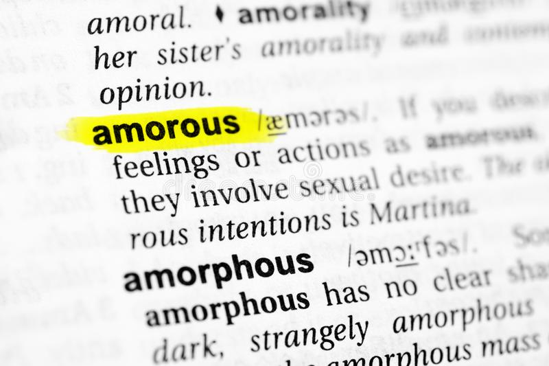 ` Amoroso destacado del ` inglés de la palabra y su definición en el diccionario fotografía de archivo