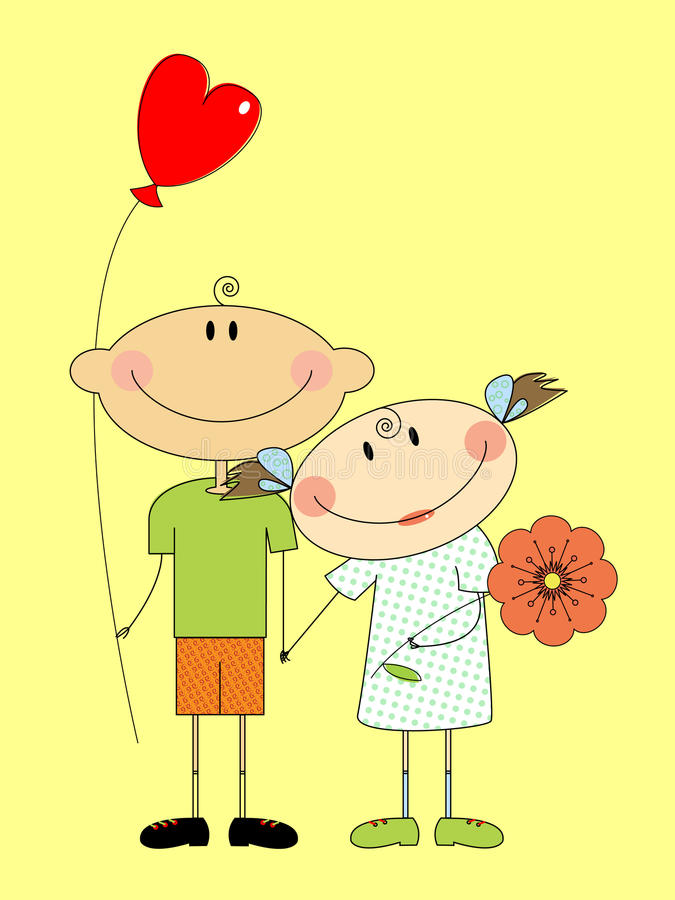 Amorous. Boy and girl in love stock illustration
