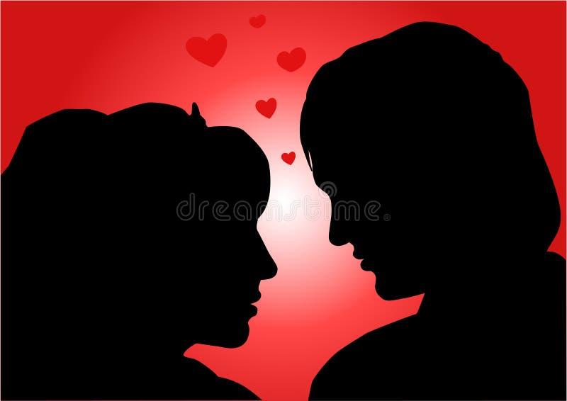 Amorous couple, illustration. Amorous couple, vector illustration, love stock illustration
