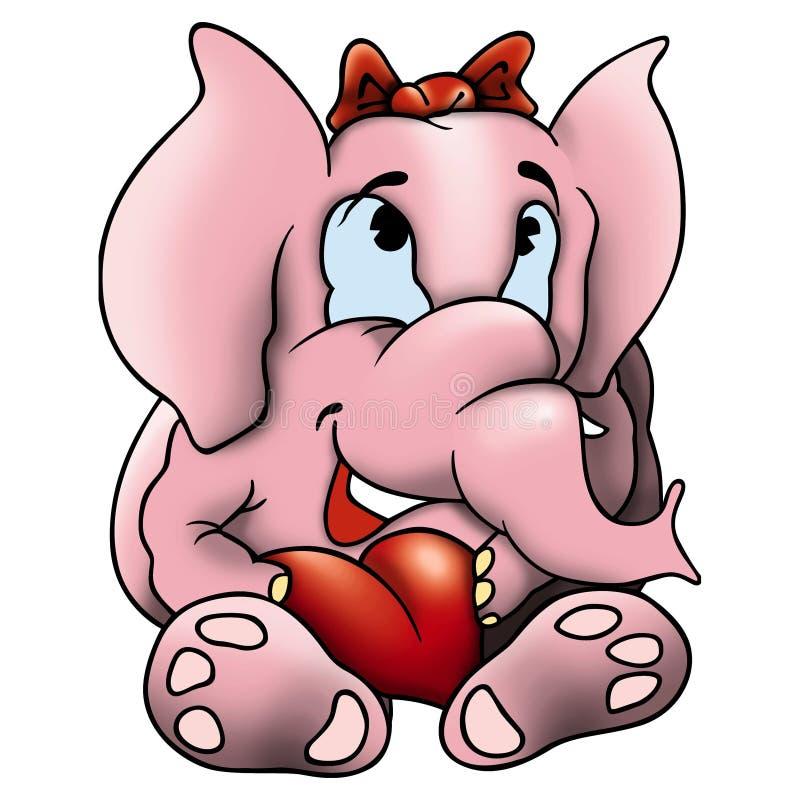 Amorous elephant. Elephant and heart - Amorous elephant - detailed and coloured illustration stock illustration