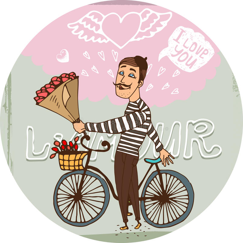 Amorous Frenchman on a bicycle with red roses. Starry eyed amorous Frenchman on a bicycle with a bouquet red roses serenading his sweetheart as he declares his vector illustration