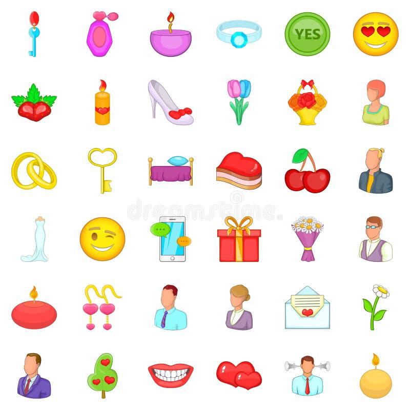 Amorous icons set, cartoon style. Amorous icons set. Cartoon set of 36 amorous vector icons for web isolated on white background stock illustration