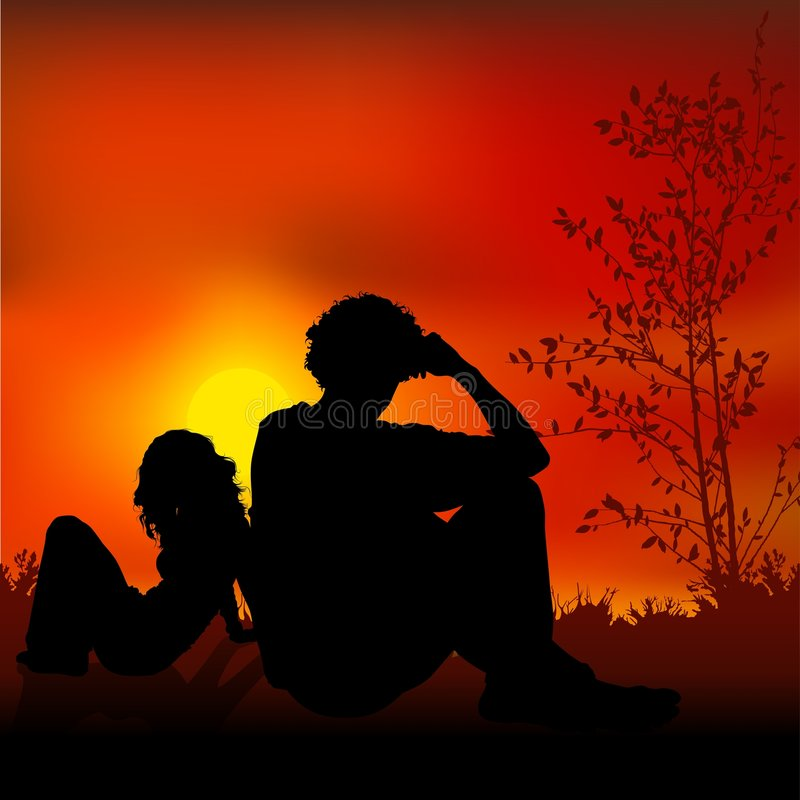 Amorous Man and Girl. Coloured and detailed illustration - couple silhouettes stock illustration