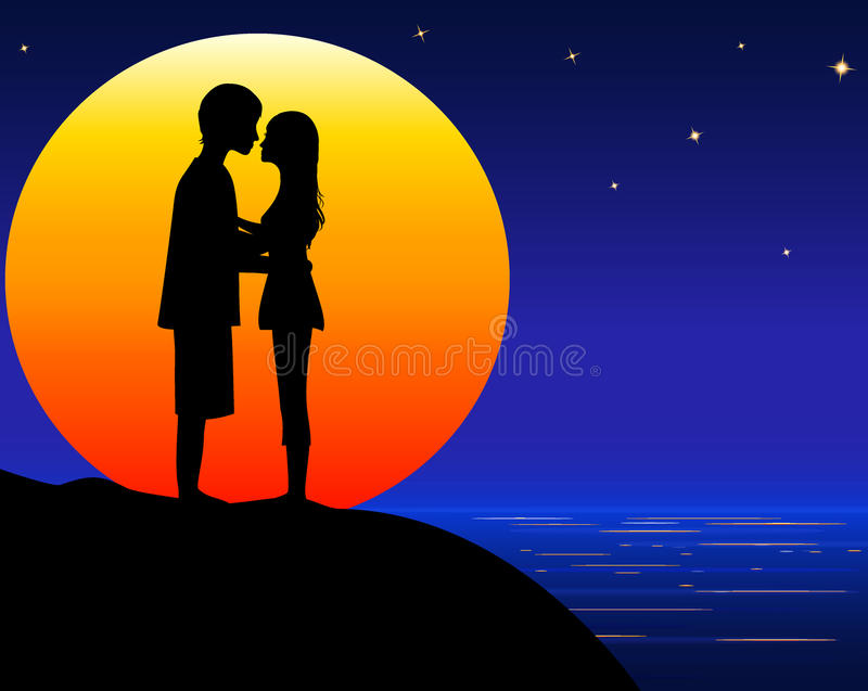 Amorous young couple. Amorous young man and woman on sea beach on orange big moon background, moonlight on sea, illustration royalty free illustration