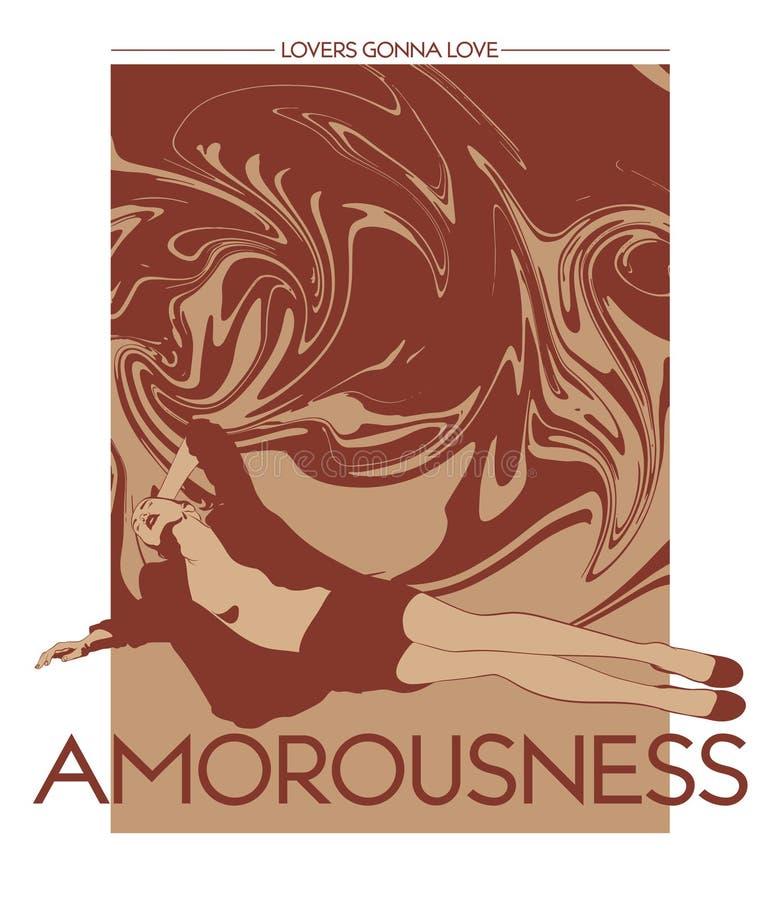 amorousness Vektorhandgezogene Illustration des hübschen Mädchens mit flüssiger Beschaffenheit lokalisiert vektor abbildung