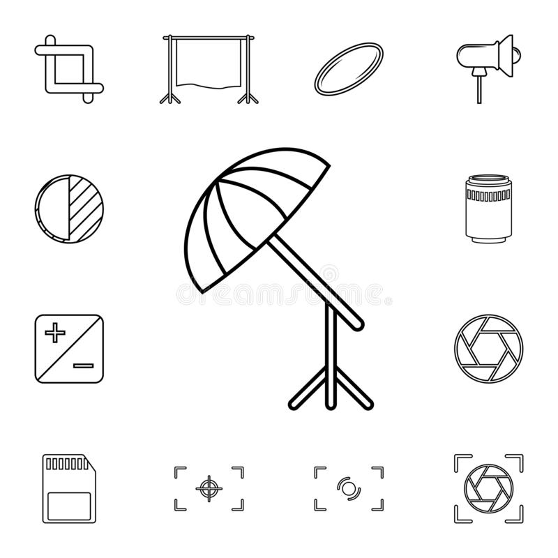 amortiguador para el icono de la cámara Sistema detallado de iconos de la cámara de la foto Icono superior del diseño gráfico de  ilustración del vector