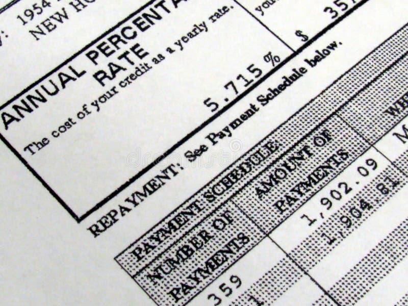 amortyzaci hipoteki harmonogram fotografia stock