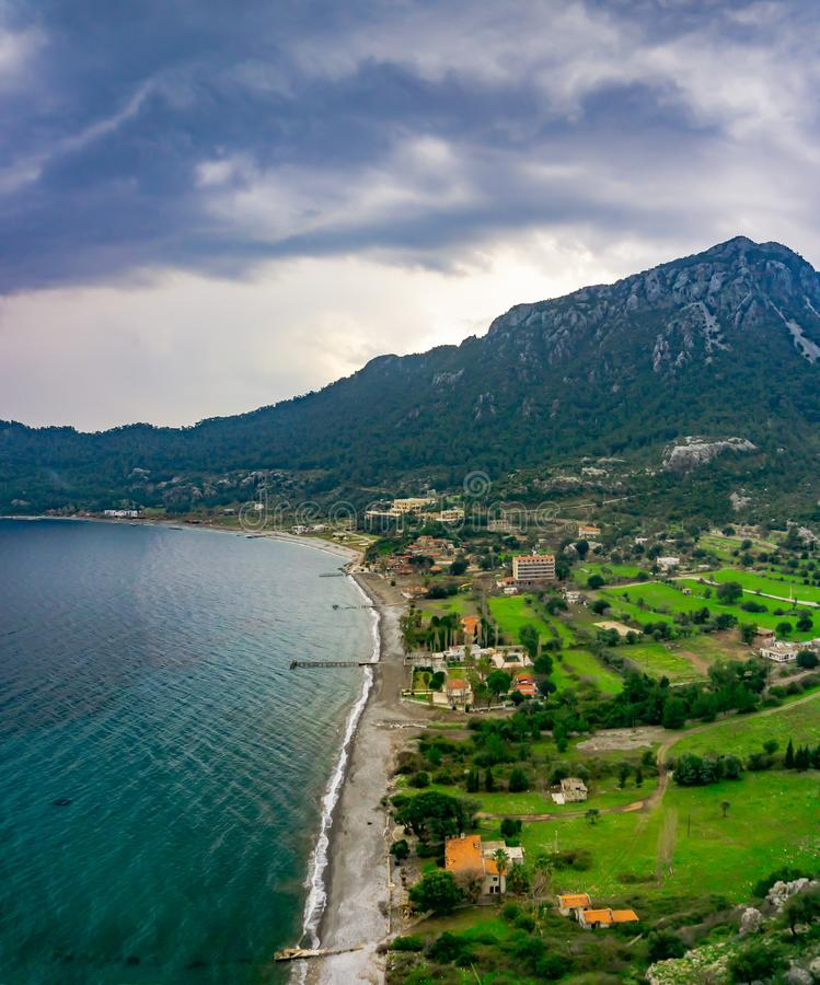 Amos Ancient city landscape. Kumlubuk beach, sea and mountain. Beauty in nature. Marmaris, Mugla, Turkey. Holiday and summer. Background. Lycian way royalty free stock images