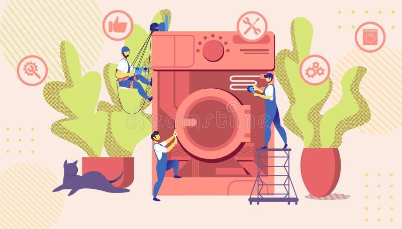 Amos del grupo que fijan la lavadora quebrada enorme stock de ilustración
