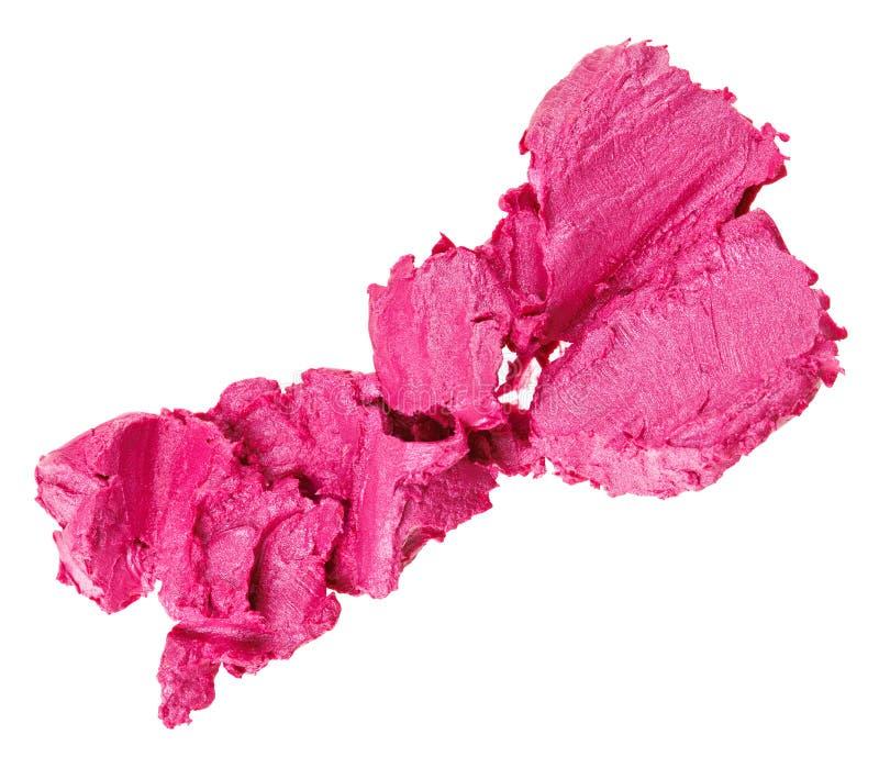 Amostra cor-de-rosa esmagada do batom foto de stock