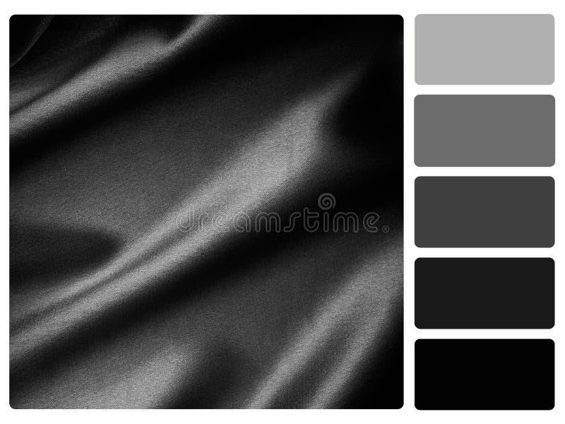 Amostra de folha preta da paleta de cor do cetim ilustração royalty free