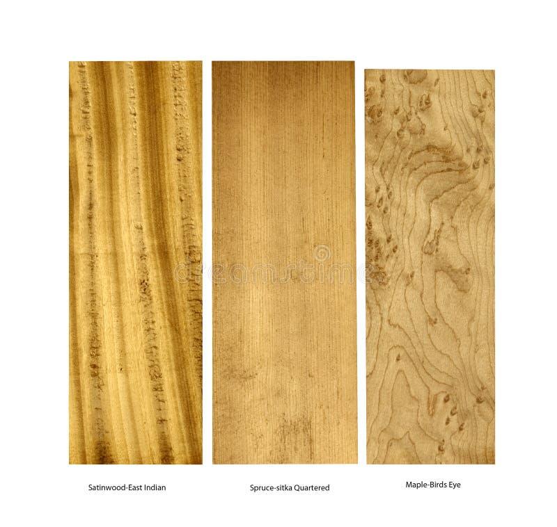 Amostra de madeira do pau-cetim, do abeto vermelho e do bordo imagens de stock royalty free