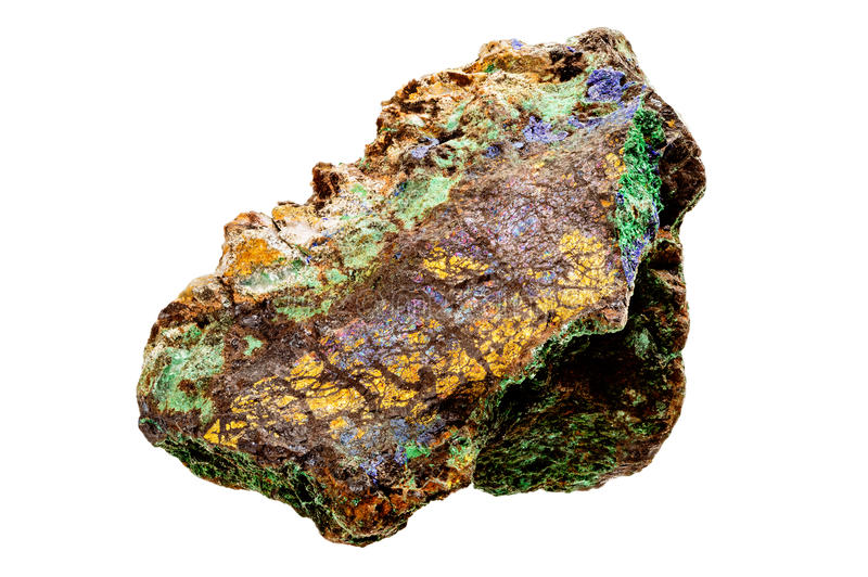 Amostra de mineral do Bornite e do Brochantite imagem de stock