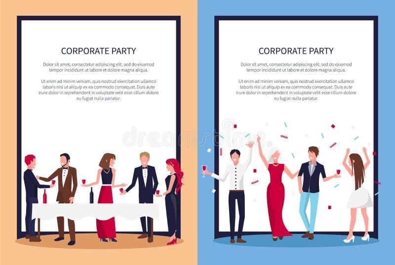 Amostra e povos ajustados do texto do partido cartazes incorporados ilustração stock