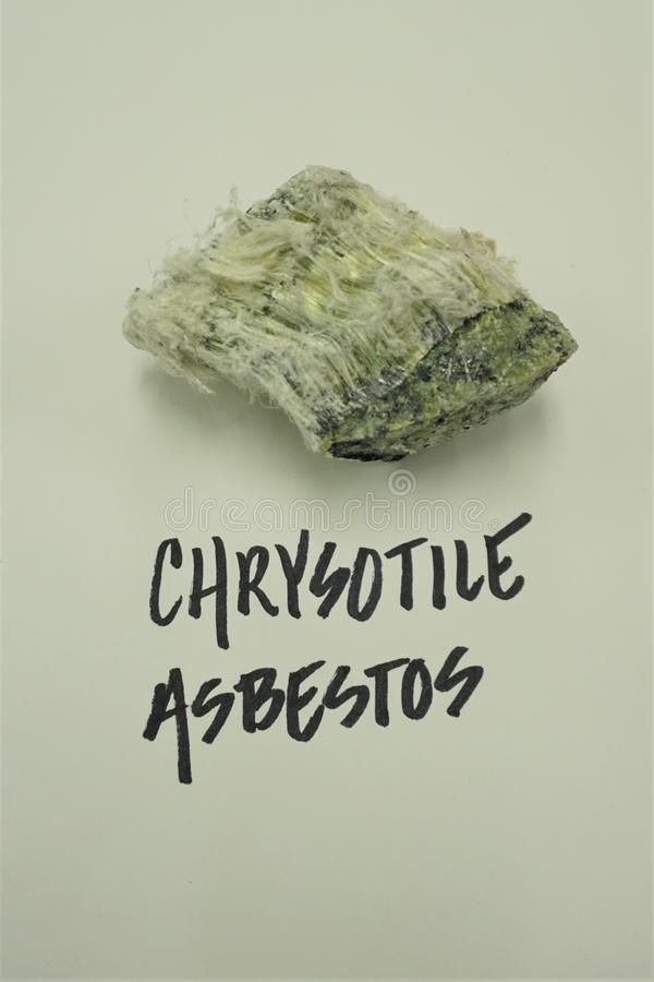 Amostra fibrosa do asbesto da etiqueta das letras principais imagens de stock