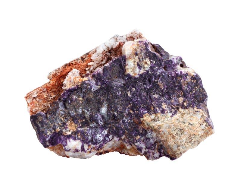 Amostra natural de charoite, mineral raro do silicato, isolado no fundo branco foto de stock royalty free