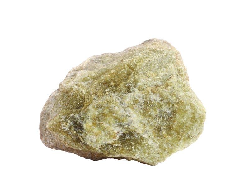 Amostra natural de pedra preciosa serpentina do lizardite isolada no fundo branco fotografia de stock