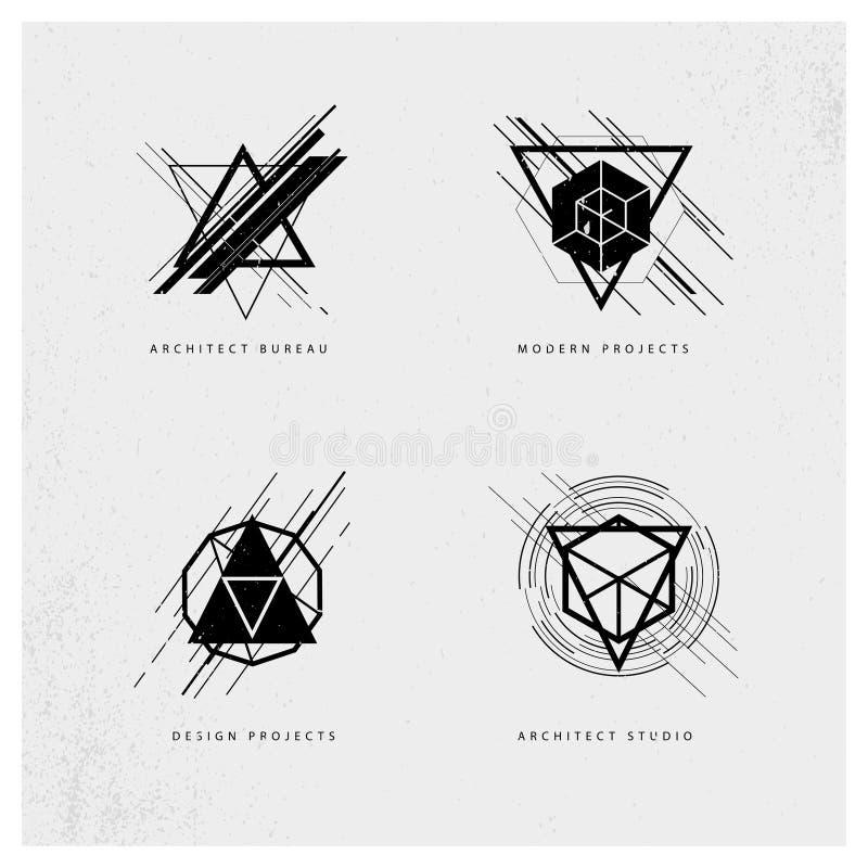 Amostra poligonal do projeto do logotipo do grunge abstrato do vetor no fundo cinzento ilustração royalty free