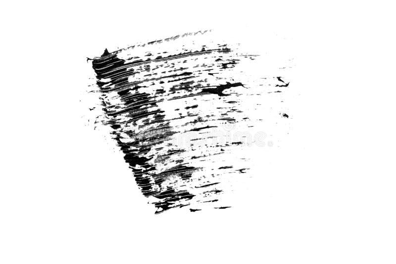 Amostra preta cosmética do curso da escova do rímel das pestanas, isolada no fundo branco imagem de stock