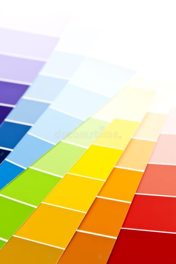 Amostras da pintura do cartão da cor fotos de stock