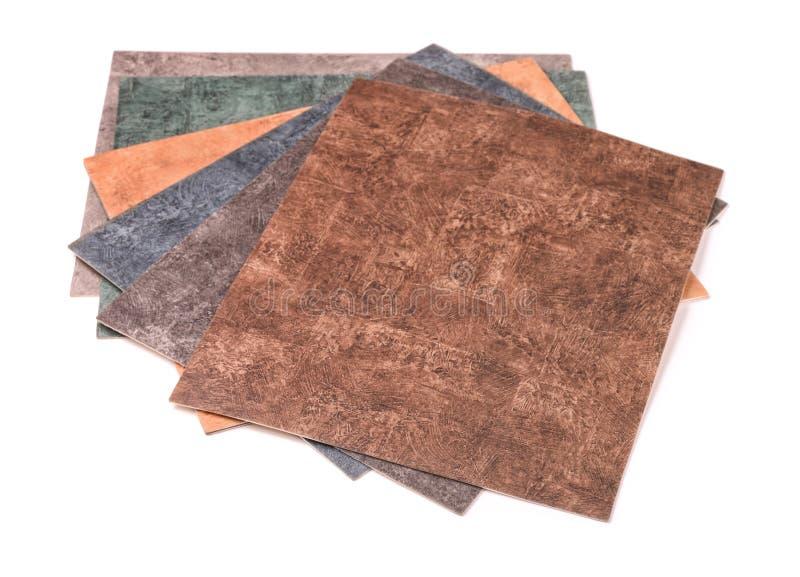 Amostras de coleção do linóleo imagens de stock