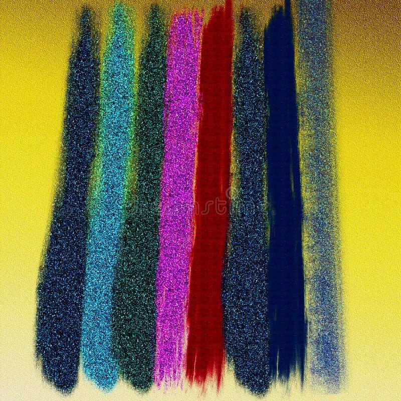 Amostras de folha da cor no fundo textured amarelo Fundo abstrato com brilho gravado Efeitos da queimadura da cor imagem de stock