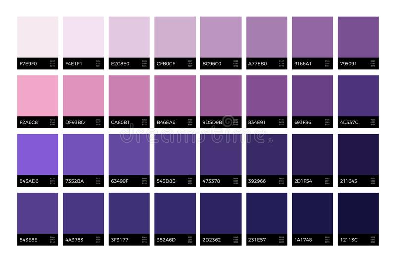 Amostras de folha ultravioletas na moda Grupo novo do vetor das cores da alfazema da forma da estação ilustração stock