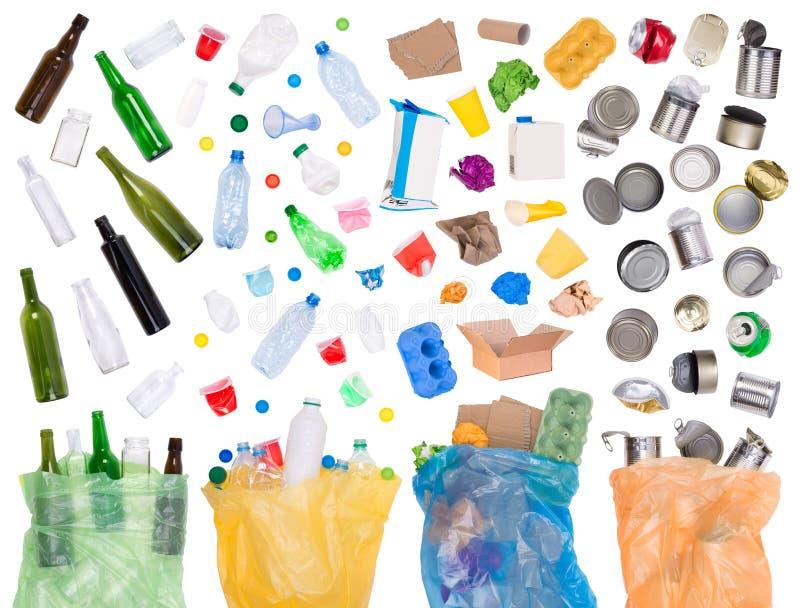 Amostras de lixo que podem ser recicladas imagens de stock royalty free