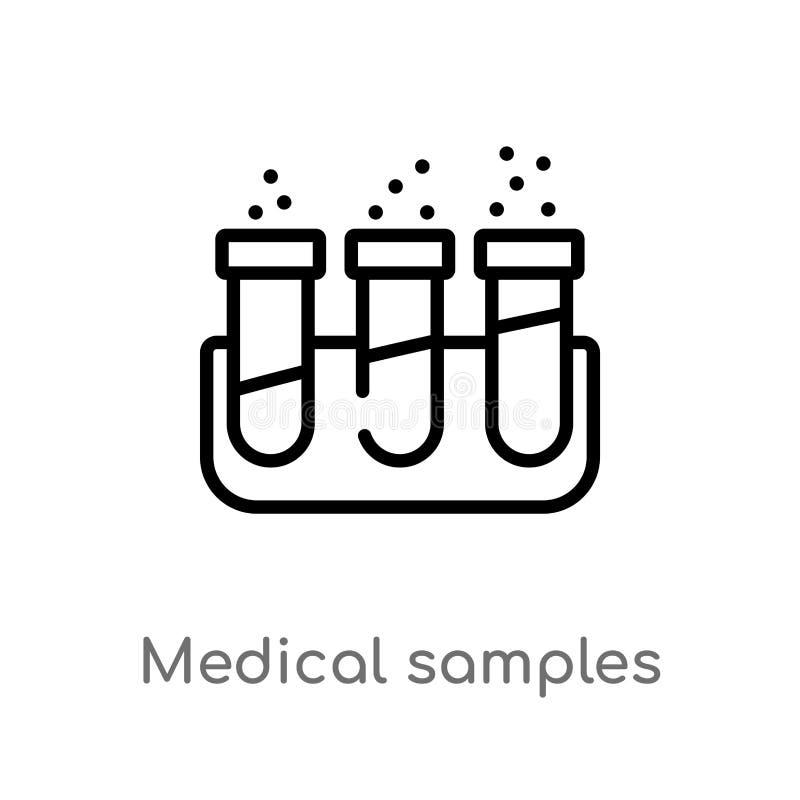 amostras médicas do esboço no ícone do vetor dos pares dos tubos de ensaio linha simples preta isolada ilustração do elemento do  ilustração do vetor