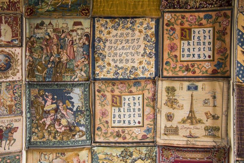 Amostras medievais francesas da tapeçaria do estilo fotografia de stock royalty free