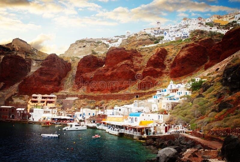 Amoudi海湾,圣托里尼,希腊 图库摄影