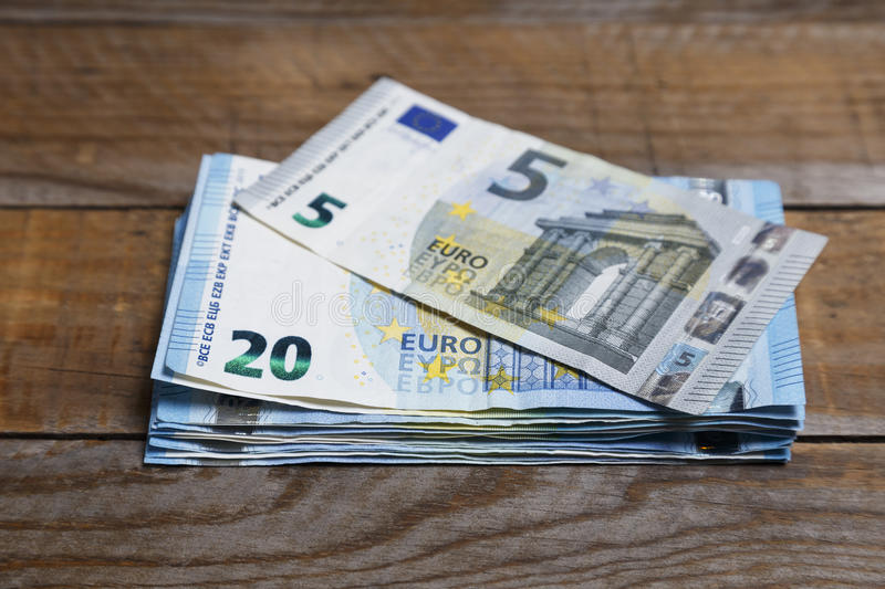 Amounts of euro banknotes royalty free stock photography